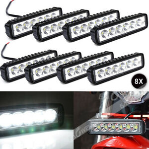 8x 18w 6inch Led Work Light Bar Flood Lamp Offroad Driving Fog 4wd Ute Suv Truck