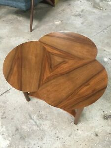 Mid Century Refinished Walnut Clover Shaped Side Table With Amazing Grain