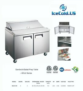 Counter Work Top Commercial Refrigeration Sandwich Salad Prep Table 2 Door