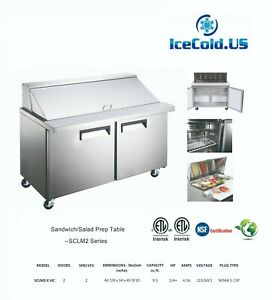 Counter Work Mega Top Commercial Refrigeration Sandwich Salad Prep Table 2 Door
