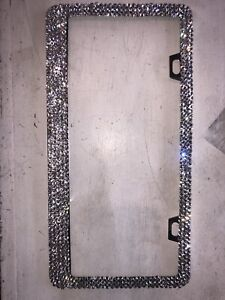 1 Metal License Plate Frame With Swarovski Crystals With Screws