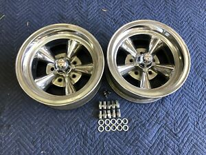 Vintage Pair 2 14x6 American Torque Thrust Polished Chevy 5 On 4 3 4