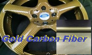 19x393 Water Transfer Printing Hydrographic Film Gold Carbon Fiber Yellow Us