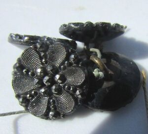Antique Buttons Black Glass Floral Lacy Steels Flowers Lot Of 4 Gorgeous