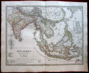 East India South East Asia Siam British India 1862 Stulpnagel Stieler Map
