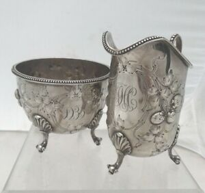 Cream Pitcher Sugar Bowl Lincoln Foss Coin Silver Strawberries Sterling Engrav
