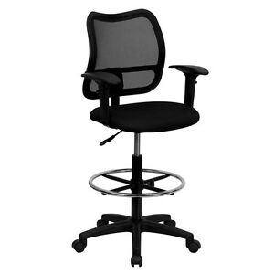 Flash Furniture Mid back Mesh Drafting Stool With Black Fabric Seat And Arms