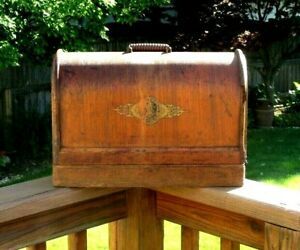 Vintage Antique Singer Sewing Machine Bentwood Wood Portable Carrying Case Box