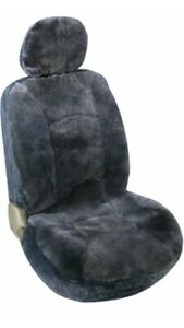 Leader Accessories Auto Genuine Sheepskin Seat Covers Grey 50 50 Low Back Front