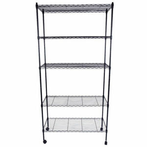 Commercial 5 Tier Shelf Adjustable Wire Metal Shelving Rack W rolling Black