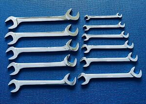 Vintage Snap on Tools 11 Piece Sae 4 Way Angle Head Open End Wrench Set 3 8 1