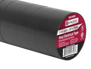 10 Pack Electrical Mechanical Tape Black Vinyl 3 4 in W 60 Ft Of Tape Per Roll