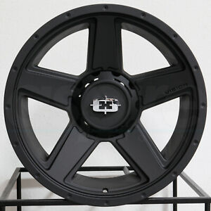 15x6 Satin Black Wheels Vision 390 Empire 5x114 3 0 Set Of 4