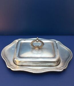 Vintage Silver Plated Butter Dish Glass Liner Decorative Handle