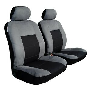 Front Seat Covers Gray Esteem Suede W t Jacquard Racing Design For Toyota Tacoma