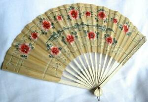 Antique Pre 1900 S Japanese Rice Paper Hand Painted Fan Bamboo Frame 58