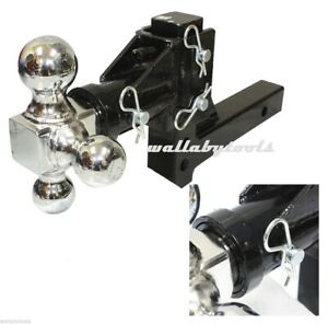 Swivel Tri Ball Adjustable Drop Raise Hitch Trailer Tow Hitch Mount 2 Receiver