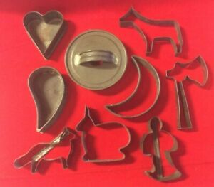 Lot Of 9 Antique Tin Metal Cookie Cutters Folk Art Animals Shapes Heart