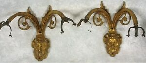 Pair Of 2 French Empire Style Bacchus Man Face Gilded Brass Lamp Wall Sconces