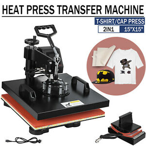 2in1 15 x15 Heat Press Machine Led Display Transfer Swing Away T shirt Cap Hat