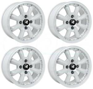 16x8 White Paint Wheels Enkei Compe 4x100 25 Set Of 4