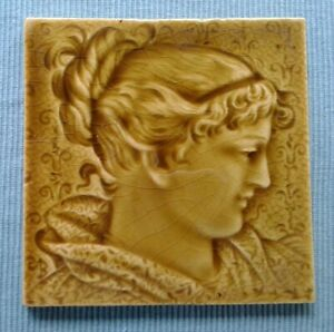 Antique Trent Ceramic Art Tile Victorian Woman Fireplace Isaac Broome Majolica