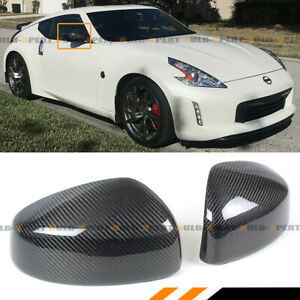 For 2009 2019 Nissan 370z Z34 Carbon Fiber Side View Mirror Covers Cap Overlay