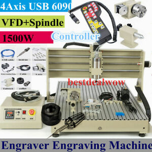 6090 4 Axis Usb Cnc Router 1 5kw Vfd Engraver Machine Milling Carving controller