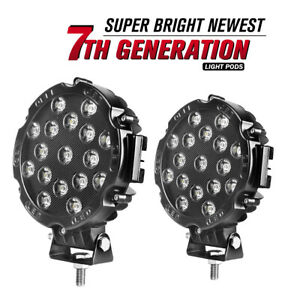 2x 7inch Led Work Lights 51w Round Led Driving Bar Fog 4wd Suv Offroad Atv Boat