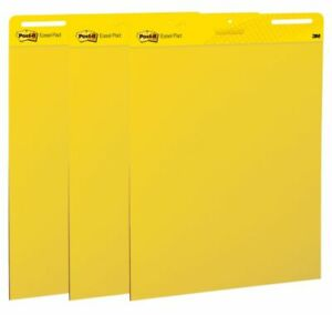 Post it Super Sticky Easel Pad 25 X 30 Bright Yellow Pack Of 3 Pads