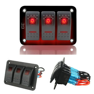 12v 24v Rocker Switch Panel 3 Gang Marine Boat Switch With Fuse Dual Led Light