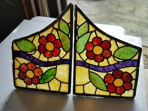 Set 2 Antique Stained Glass Windows Small Bookend Style For Repurposing