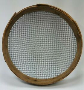 Antique Vintage Primitive Old Barn Tool Round Wood Wire Farm Grain Sifter 13