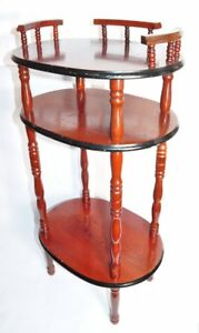 Vintage 3 Tier Trinket Side Table Entry Bathroom Etc Cherry Wood Tone