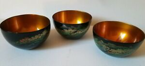 Vtg Japanese Lacquer Scenic Bowls W Hand Painted Koi Fish Inside Set Of 3