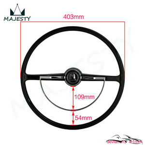Black Steering Wheel Chrome Ring Button For Vw Volkswagen Beetle 1955 1965