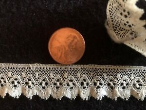 19th C Point Ground Bobbin Lace Pretty Doll Size Costume Edging