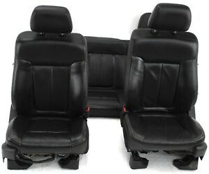 2011 2014 Ford F150 Rear Bench Front Passenger Driver Side Leather Seat Black