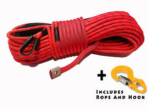 Synthetic Winch Rope Line Cable Red 7 16 X 100 30000 Lb With Guard And Hook