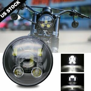 Black 5 3 4 5 75 Led Headlight High Low For Harley Sportster Xl 883 1200 Dyna