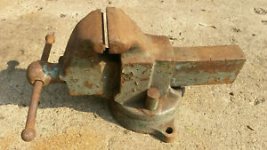 Vintage Craftsman Heavy Duty Industrial Bench Vise Swivel Usa