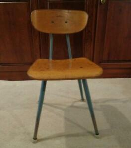 School Chair Child S Historic Vtg Steel And Wood Orig Cond Mid 50 S Toy Story