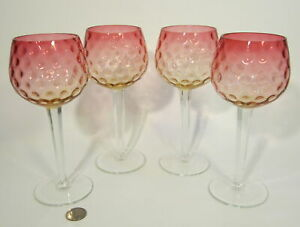 4 Antique Victorian Art Glass Amberina Inverted Thumbprint 8 Hock Wine Goblets