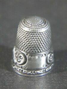 Antique Stern Bros Puffy Scroll Border Sterling Silver Sewing Thimble Size 10