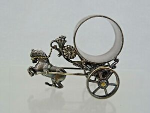 Antique Figural Napkin Ring American 19 Century Horse Carriage