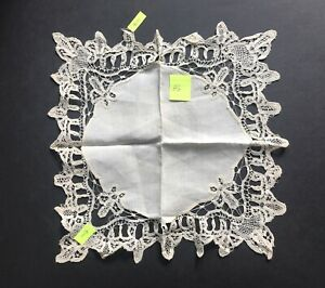 Antique Silk Linen And Lace Wedding Hanky Handkerchief Ecru