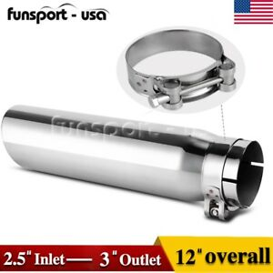 2 5 Inlet Diesel Exhaust Tip 3 Outlet 12 Long Clamp On Chrome Stainless Steel