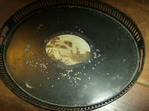Original Antique French Toleware Painted Oval Tin Tray