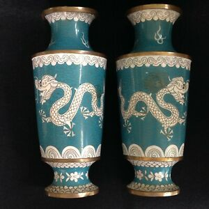 Antique Or Vintage 9 Chinese Cloisonne Pair Vases Imperial Dragon Flaming Pearl