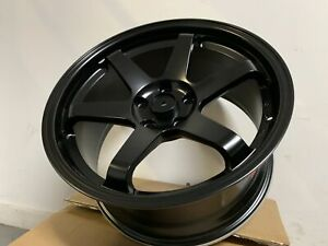 18 Staggered Satin Black Grid Style Wheels Fits 5x114 3 Altima Maxima
